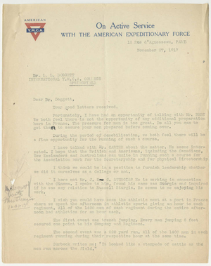Letter from James H. McCurdy to Laurence L. Doggett (November 27, 1917)