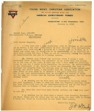 Letter from James H. McCurdy to Laurence L. Doggett (January 2, 1918)