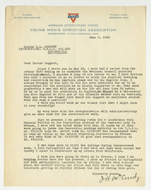 Letter from James H. McCurdy to Laurence L. Doggett (June 6, 1918)