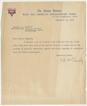 Letter from James H. McCurdy to Laurence L. Doggett (September 21, 1918)