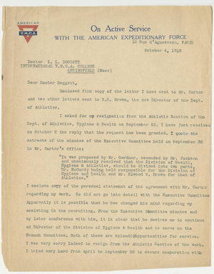 Letter from James H. McCurdy to Laurence L. Doggett (October 4, 1918)