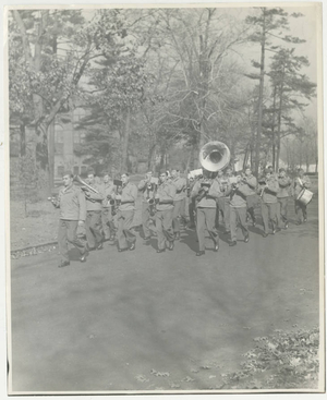 The Army Air Corps band marching on the campus of Springfield College (May 1943)