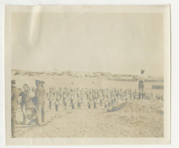 Soldiers doing Physical Therapy exercises at Sidi Bishr in Egypt (1918)