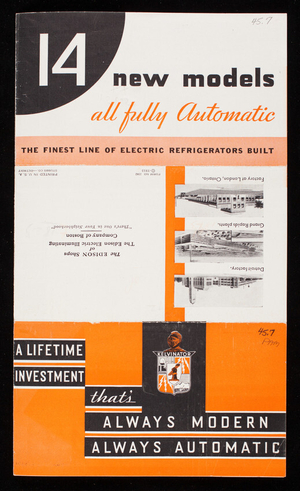 14 new models all fully automatic, Kelvinator fully automatic domestic models for 1933, Kelvinator Corporation, Detroit, Michigan