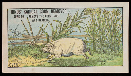Trade card for Hinds' Radical Corn Remover, prepared only by A.S. Hinds, pharmacist, Portland, Maine