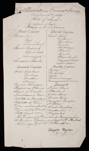 First dinner in Tremont House, Boston, Mass., October 16, 1829