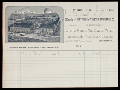 Billhead, Fletcher & Webster Furniture Co., Inc., manufacturers of wood and marble top center tables, whatnots, hat trees, cribs, cradles, Nashua, New Hampbshire, dated July 5, 1894
