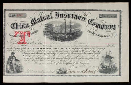 Certificate of profits, no. 450, for the China Mutual Insurance Company, Boston, Mass., dated October 2, 1895