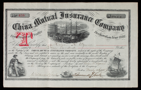 Certificate of profits, no. 459, for the China Mutual Insurance Company, Boston, Mass., dated March 12, 1896