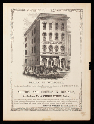 Advertisement, Isaac H. Wright, auction and commission business, No. 15 Winter Street, Boston, Mass.