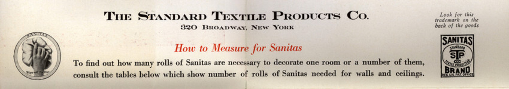 How to measure for Sanitas, Standard Textile Products Co., 320 Broadway, New York, New York