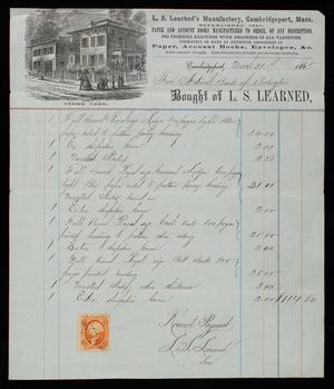 Billhead for L.S. Learned, stationery, L.S. Learned's Manufactory, Cambridgeport, Mass., dated March 31, 1865