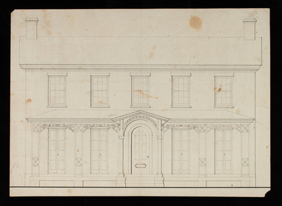 Architectural rendering of an unidentified Greek Revival facade with added Italianate detail, location and date unknown.