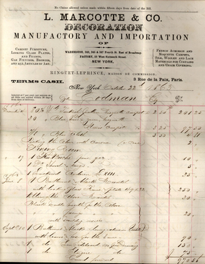 Billhead for L. Mercotte Co., decoration, manufactory and importation of, warehouse, 343, 345 & 347 Fourth Street, east of Broadway, factory, 55 west sixteenth Street, New York, New York, dated October 22, 1863