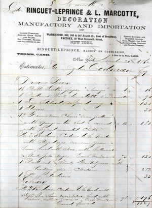 Billhead for Ringuet-Leprince & L. Marcotte, warehouse, 343, 345 & 347 4th Street, east of Broadway, factory, 55 West 16th Street, New York, New York, dated November 21, 1862