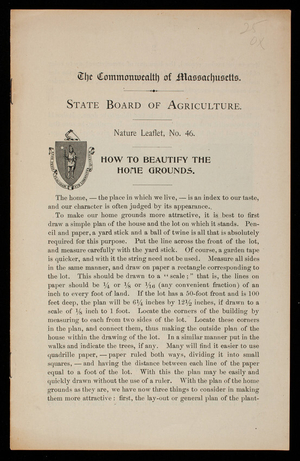 How to beautify the home grounds, H.D. Hemenway, Massachusetts State Board of Agriculture, Boston, Mass.