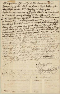 Resolution of the governor and assembly of the state of Connecticut