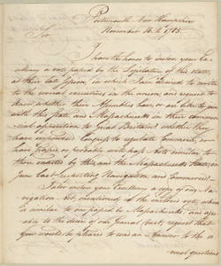 Letter, 1785 November 16, Portsmouth, N.H., to [William Smallwood], Maryland