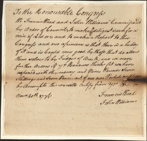 Report to the Continental Congress, 1776 November 20