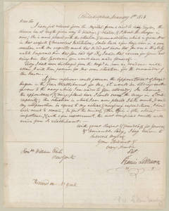 Letter, 8 January 1813, Philadelphia, [Penn.], to Honorable William Eustis, New York.