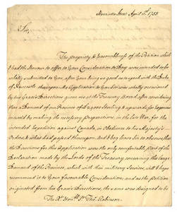 Letter by William Bollan, [London, England], to Sir Thomas Robinson