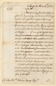Letter by James Abercromby, New York, [to] William Denny.