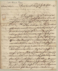Letter by Robert Orme, Fort Cumberland, to Gov. Robert Hunter Morris.