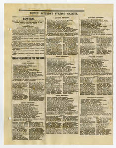 Roster of Massachusetts volunteers for the war, from the Boston Saturday Evening Gazette