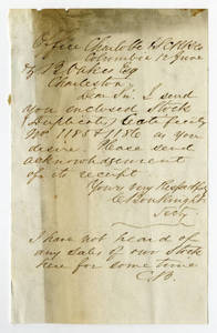 Letter by C. Bouknight from Office, Charlotte & S.C.R.R. Co., Columbia, to Ziba Oakes