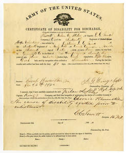 Certificate of Disability for Discharge for Private Milan A. Stiles