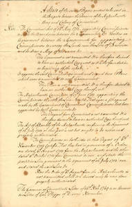 William Bollan document regarding dispute between Massachusetts and Connecticut, undated