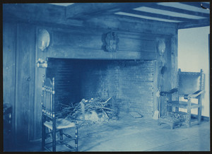 Emery Moses House, West Newbury, Mass., hall with fireplace