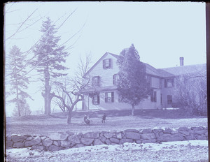 Exterior view of the John Crehore House with children playing on the lawn, Milton, Mass.