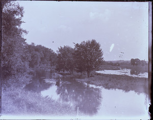 Man rowing on a river, Milton, Mass.