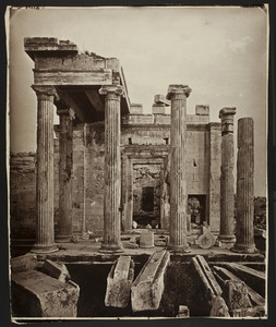 Classical Greek building with four columns in front