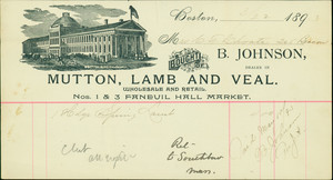 Billhead for B. Johnson, wholesaler and retailer of mutton, lamb and veal, Nos.1 & 3 Faneuil Hall Market, Boston, Mass., dated March 22, 1893