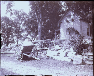 Exterior view of a house with a wagon in front, Mashpee, Mass.
