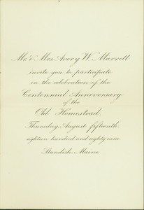 Invitation from Mr. and Mrs. Avery W. Marrett, to participate in the celebration of the centennial anniversary of the Old Homestead (1789 - 1889)