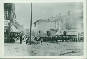 Oxen teams moving a house down State Street, Newburyport, Mass., undated