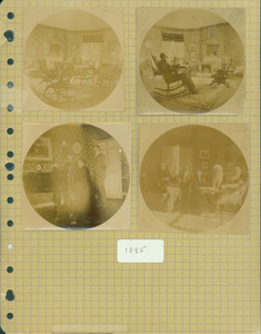 Tucker Family photograph album, portraits including Richard Holbrook Tucker and Mollie Tucker playing the piano, page twenty-seven, Wiscasset, Maine
