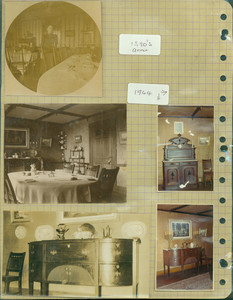 Tucker Family photograph album, portrait of Annie Tucker and interior views, dining room, page thirty-two, Wiscasset, Maine, 1890-1964