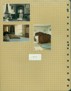 Tucker Family photograph album, interior views, bedroom, page thirty-four, Wiscasset, Maine, 1890-1970