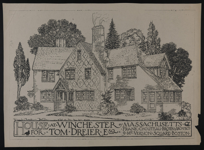 Set of architectural drawings of the Thomas Dreier House, Winchester, Mass., 1924