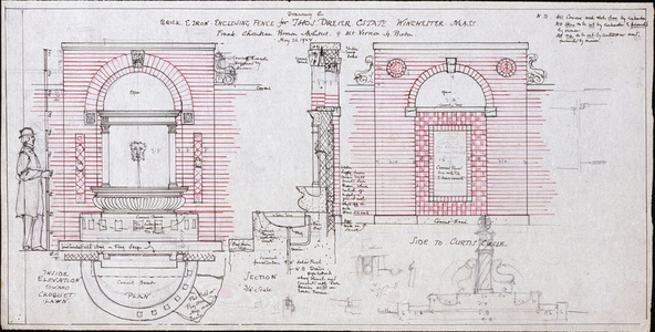 Elevations, plan, and section of the enclosing fence, Thomas Dreier House, Winchester, Mass., May 26, 1924