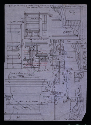 Detail drawings of the living and dining rooms, R.M. Tyler House, Wellesley, Mass., 1930