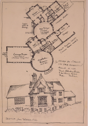 Floor plans and water side exterior perspective of an unidentified house on the Connecticut River, 1934