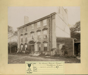 Exterior view of the west facade, Royall House, Medford, Mass., undated