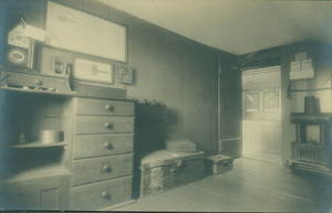 Postcard view of an unidentified Shaker House interior, Harvard, Mass., undated