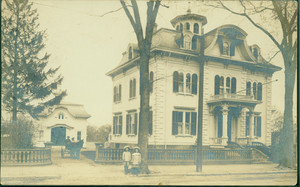 Postcard of a house with a carriage building, Newburyport, Mass., undated