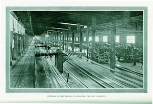 Interior of ropewalk, Plymouth Cordage Company, Plymouth, Mass., undated
